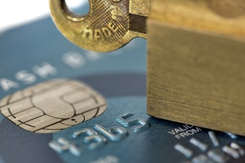 Stuck key on top of credit card